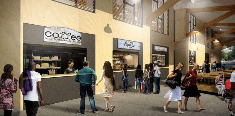 COURTESY RENDERING - Patrons inside the proposed open-air marketplace stop for a quick sip of java.