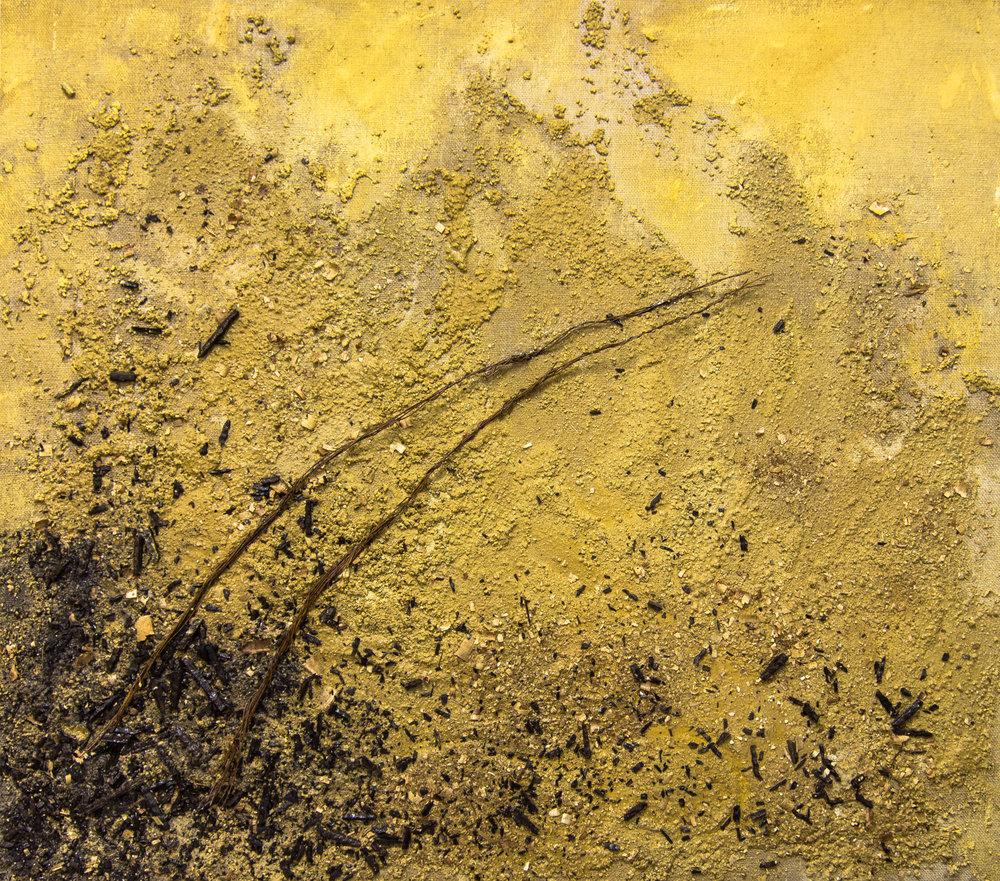 Destino. Técnica mixta sobre arpillera. 115 x 131 cm.