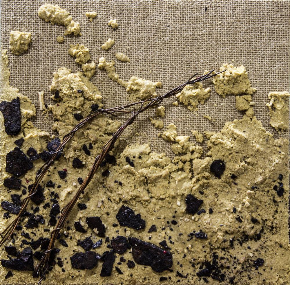 La travesía. Técnica mixta sobre arpillera. 30 x 30 cm.