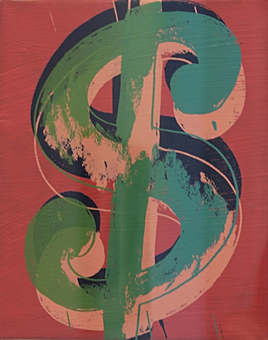 Dollar Sign,  1982 Mixed media on canvas. 25 x 20 cm. NOT FOR SALE