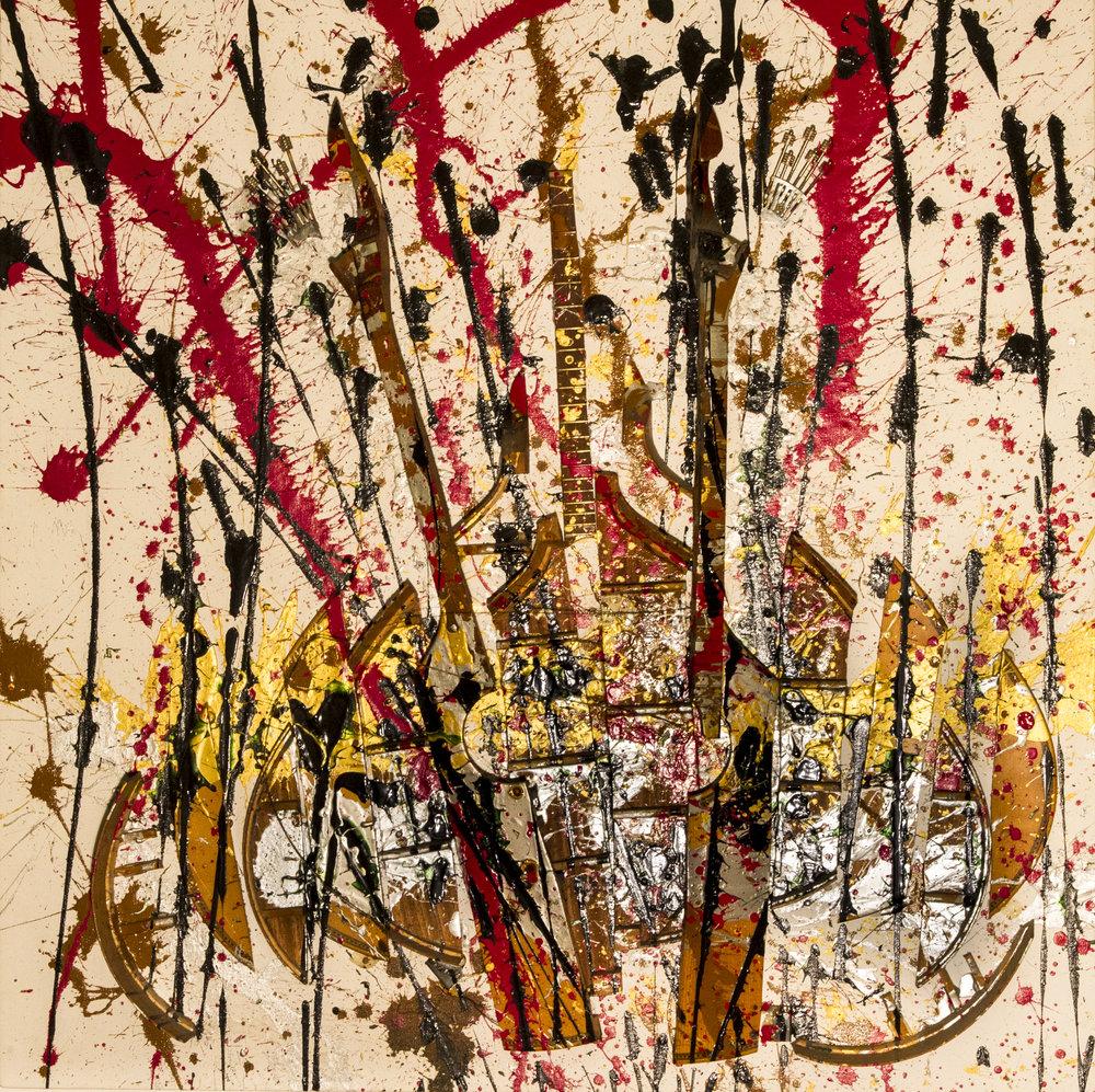 Music, 1991. Técnica mixta sobre lienzo. 100 x 100 cm.