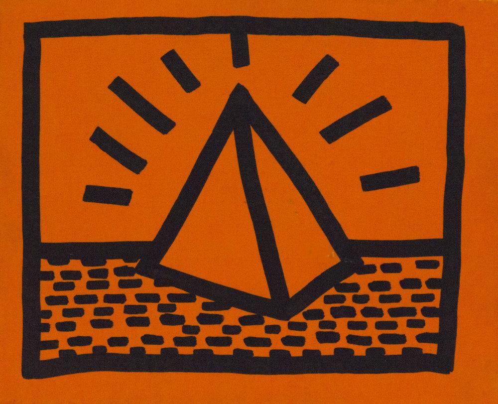 Untitled, 1982. Pintura fluorescente y marcador negro. 22,35 x 17,27 cm. VENDIDO