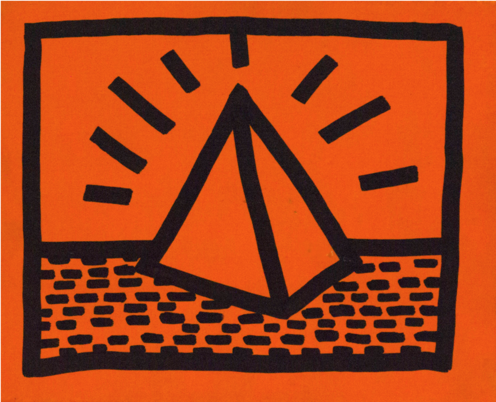 Untitled, 1982. Fluorescent paint and black marker. 22,35 x 17,27 cm.