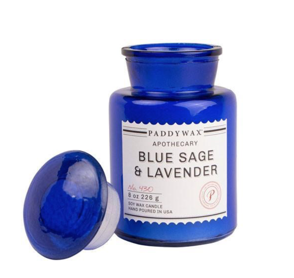 BLUE SAGE & LAVENDER - This candle was made for relaxation. It will make you feel on vacation. The fragrances also evokes balance. You can pick this candle up at paddywax.com.