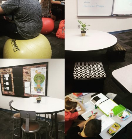 Varying options for new classroom setups, including tables for group work (bottom righthand corner) and bouncy balls for flexible seating (upper lefthand corner). (Jamie Schnepp)