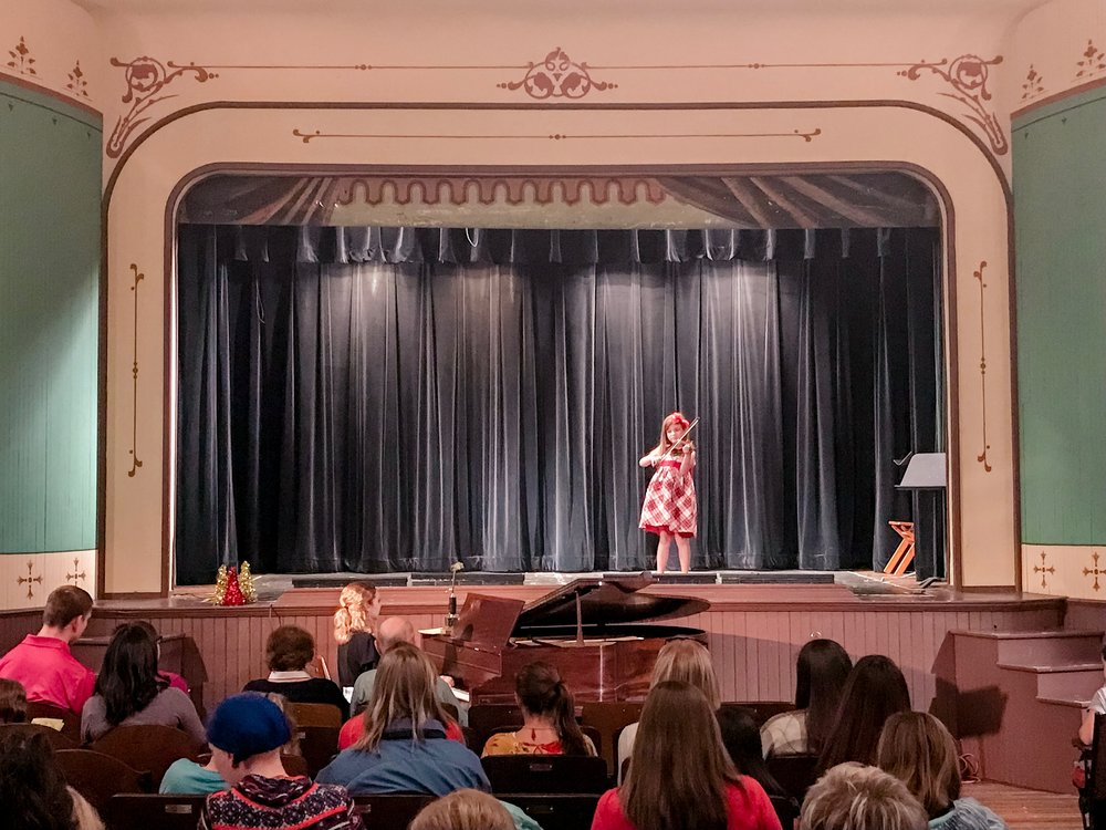 A student performing at her first recital. December, 2018