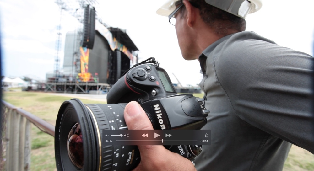 Ivan Soca photographing The Rolling Stones stage, built at La Ciudad Deportiva (Sports City) in Havana.