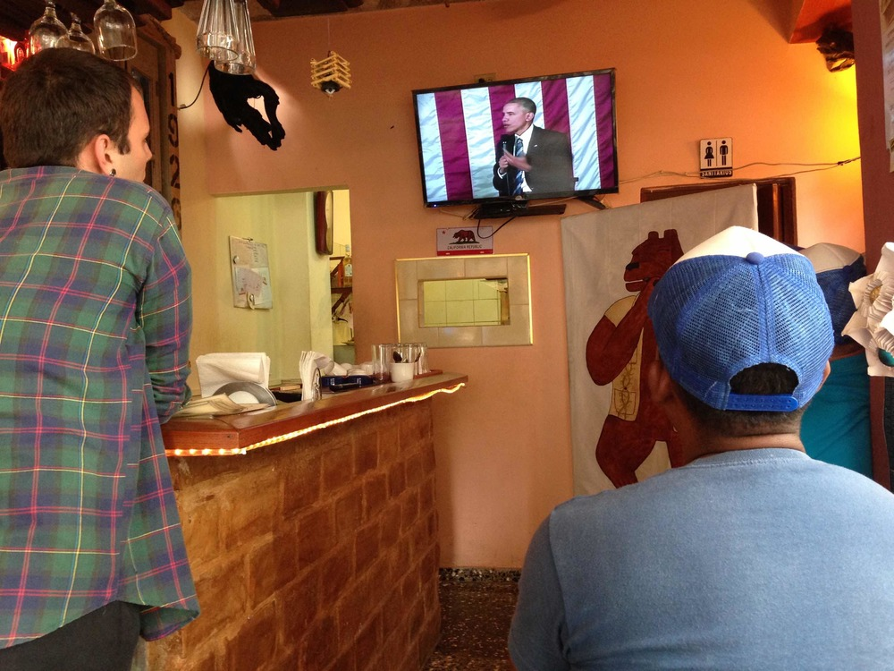 Watching Cubans watch Obama.