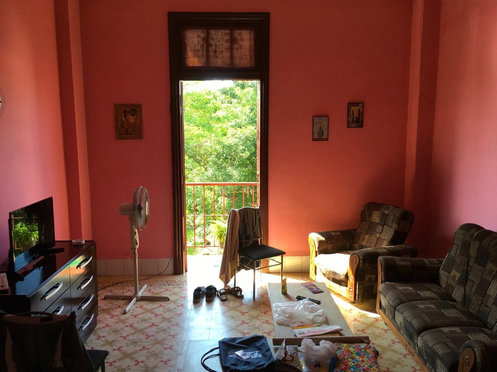 Our casa particular (Cuba's version of AirBnB, around since the 90s) in the Vedado district of Habana. Marvelous colors and a balcony to watch the tropical storms passing through almost every afternoon.