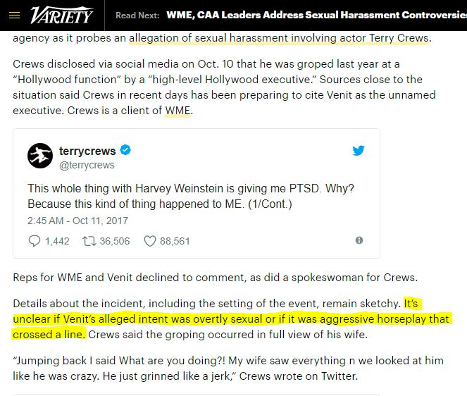 Terry Crews, Adam Venit, Variety article offensive comment. Hollywood sexism.