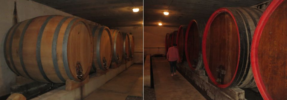 Traditional Oak  foudres  in Le Vieux Donjon's cellars