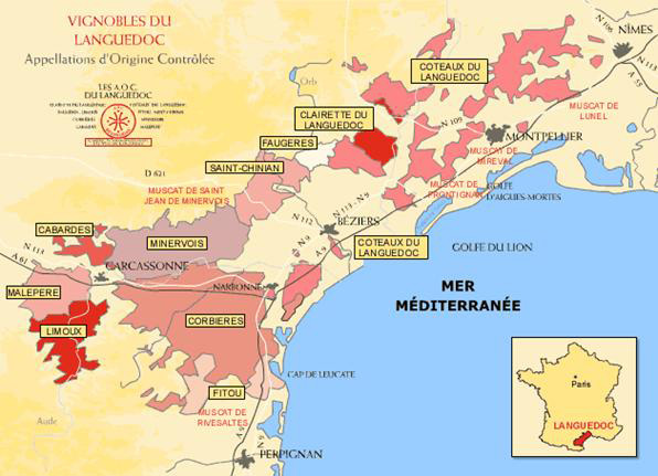 Map of the Languedoc Region