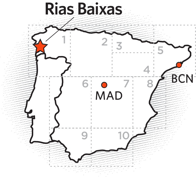 Map of Spain highlighting Rias Baixas from  Ole Imports.