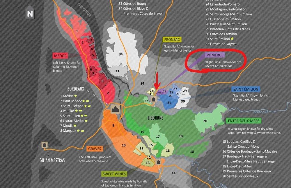 Map of Bordeaux Wine Region from  Winefolly.com
