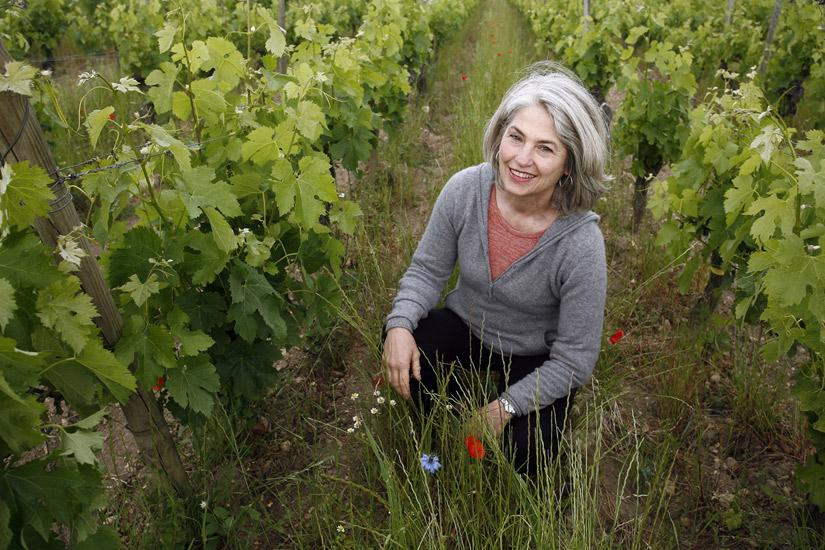 Claire Laval in the vineyards at  Chateau Gombaude-Guillot.