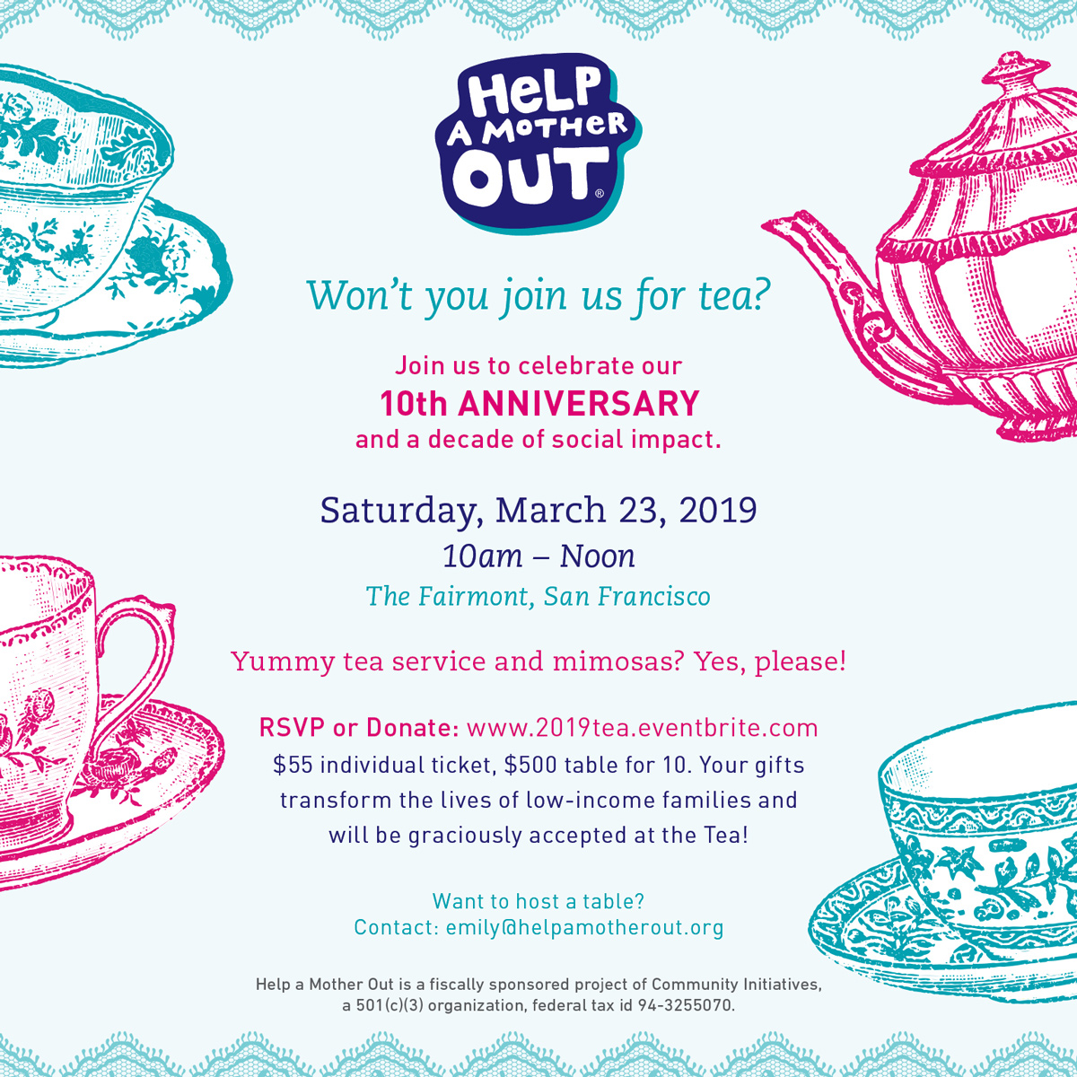 9th Annual Benefit Tea — Help a Mother Out