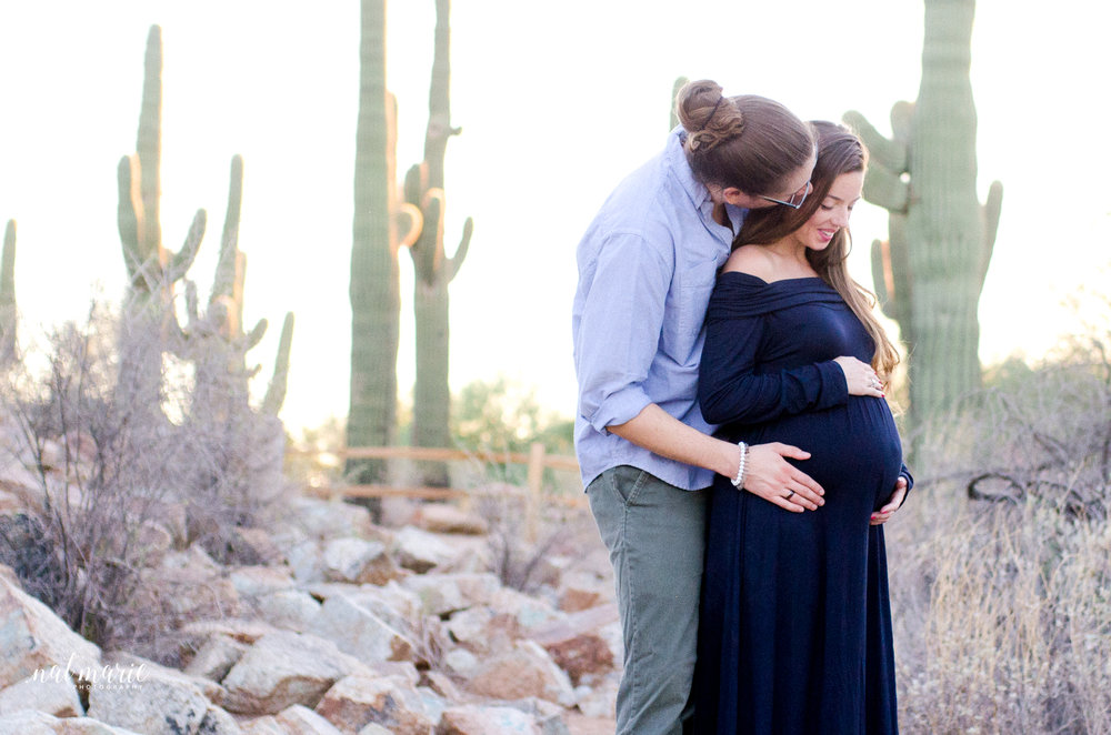 desert maternity session at sunset