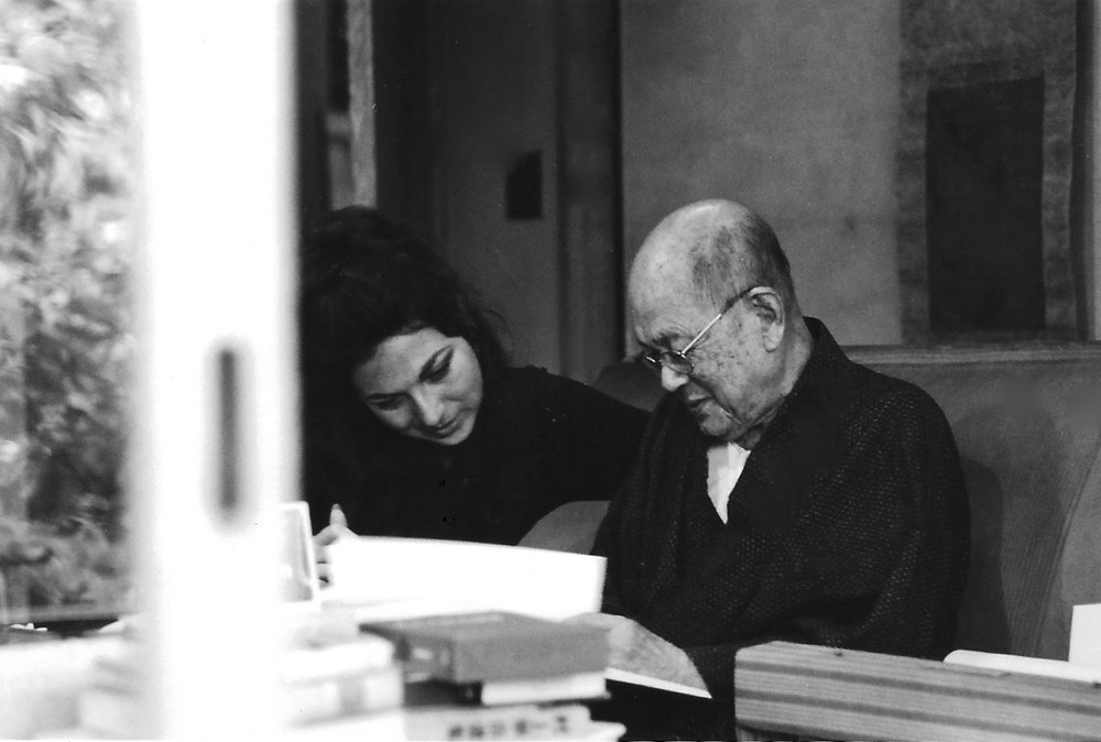 Japan 1970 - Sara Larkin and Author Mushanokoji at his residence