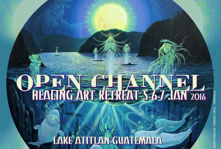 "Juan Carlos Taminchi's painting ""Yemanja""on the Open Channel Retreat flyer"