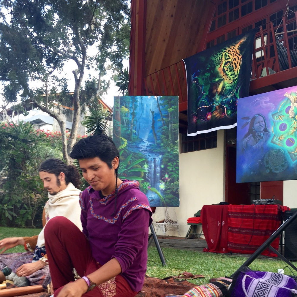 Juan Carlos Taminchi and musician David (front, back). Visionary Painting workshop at Open Channel Retreat. Photo: Lily Rothrock