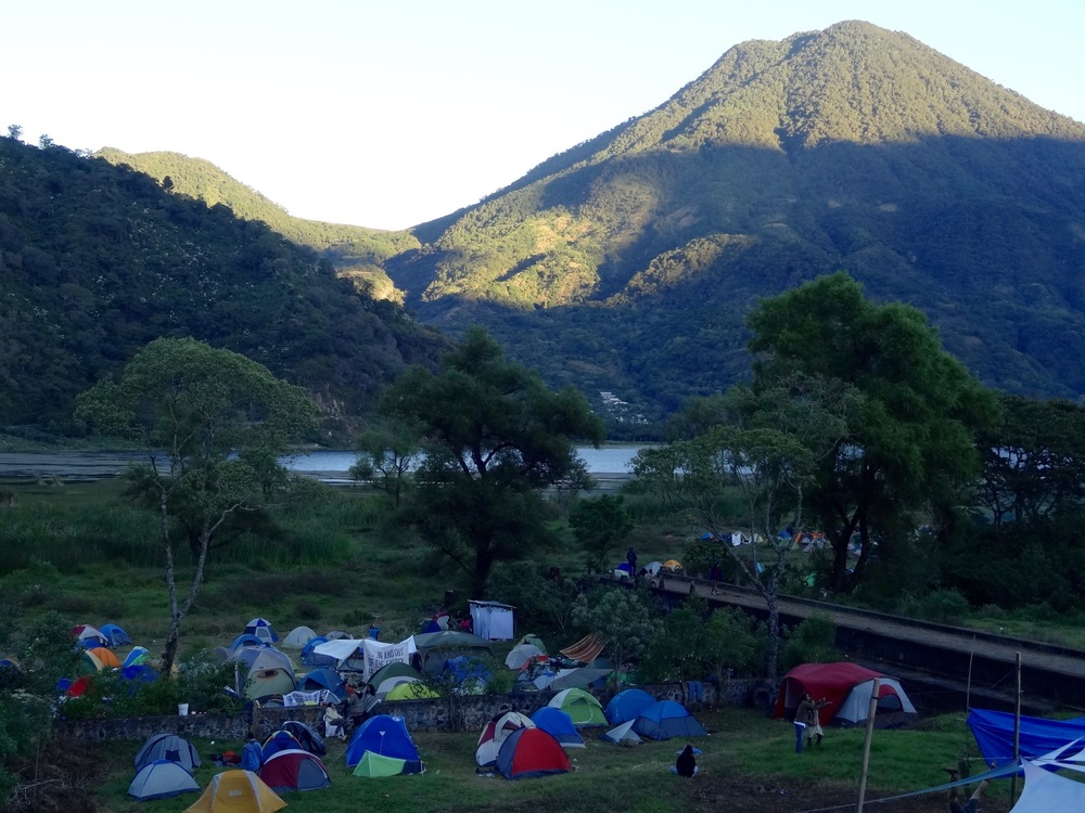 Camping in the shade of Volcano San Pedro at Cosmic Convergence Festival.  Photo: Lily Rothrock