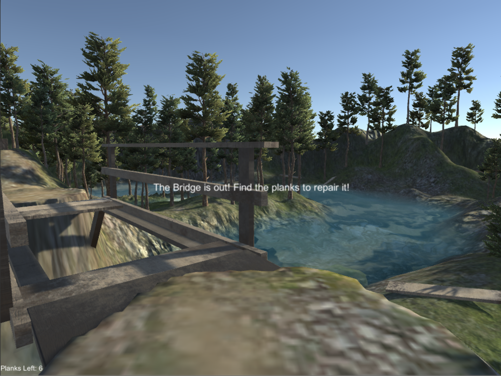 Beginning of the level, when the player approaches the washed out bridge.    In-game screenshot