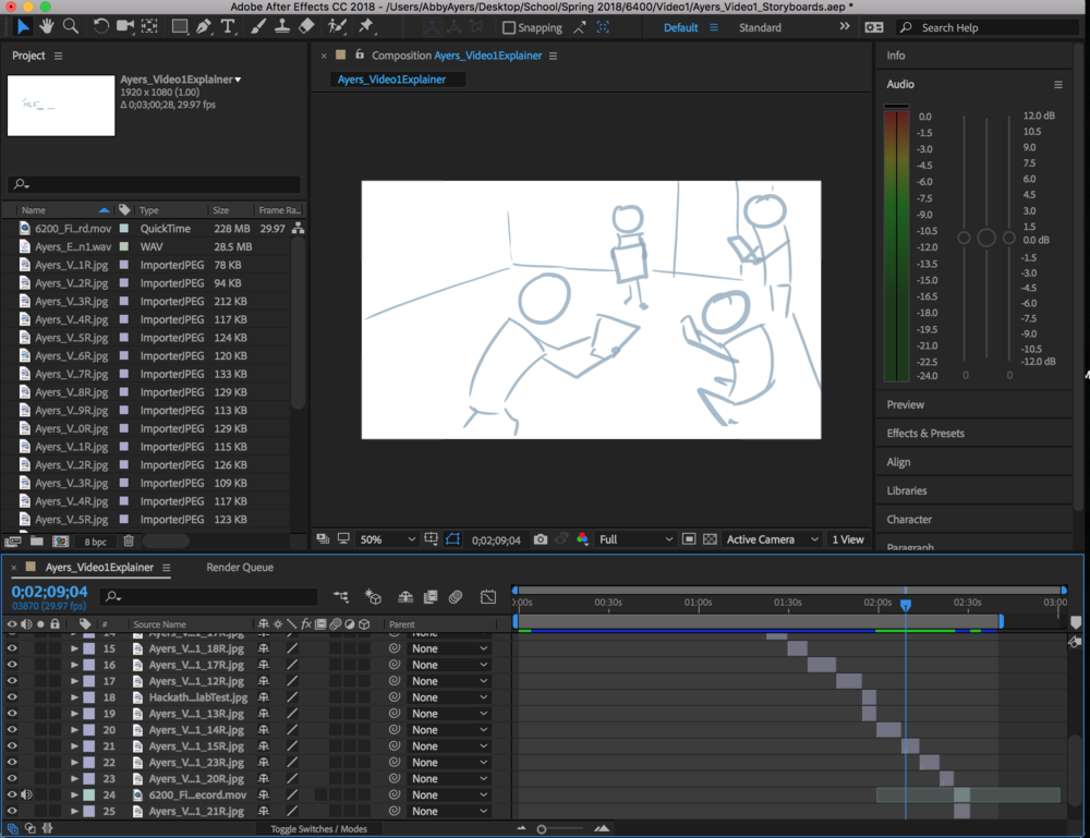Screenshot of Animatic work in After Effects