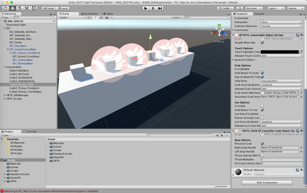 Screenshot of interactive table, with one of the pick-up cubes selected.