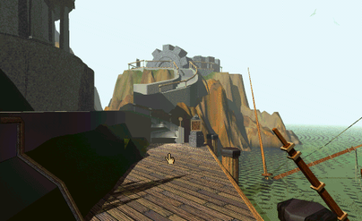 Myst: moving through must requires pointing and clicking to turn and move forward. Doing this through the environment but on a much larger scale is what I envision. Players would have a specific area to explore before choosing the next section to move to.