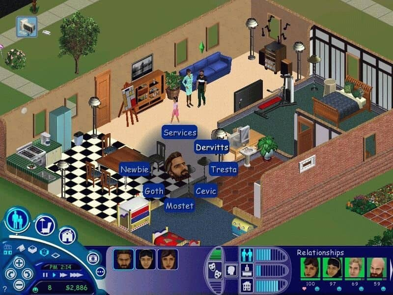 The Sims: the gridlike layout in the game was useful when thinking about how to organize sections of the environment for users to traverse. I also found that the menus in the game closely resemble to tooltip menus available for the Vive Controllers, and could serve as another method of navigation.