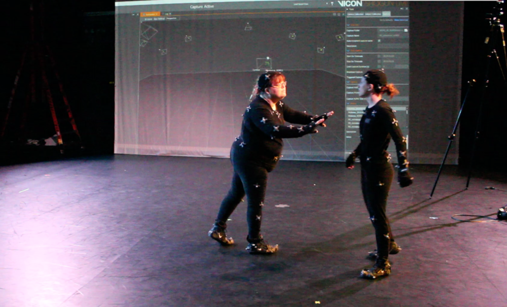 Still from motion capture data capture, 2/18/18. Cop confronting a protester.