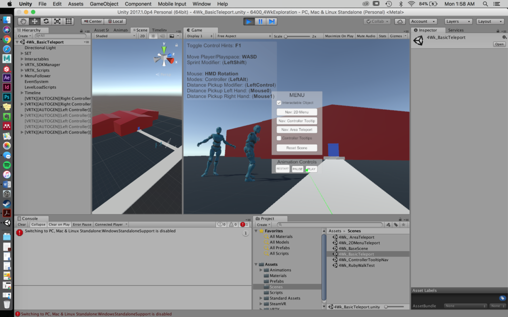 Screenshot in Unity of Animation Controls added to Headset Menu.