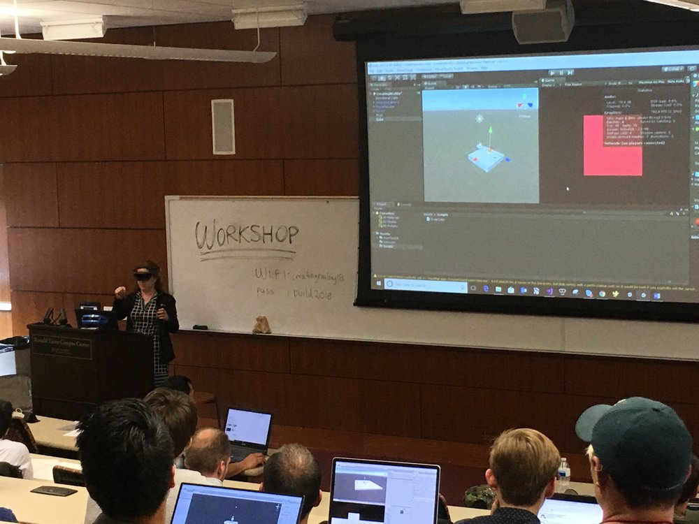 Workshop showing the Mixed Reality Toolkit with the Hololens.