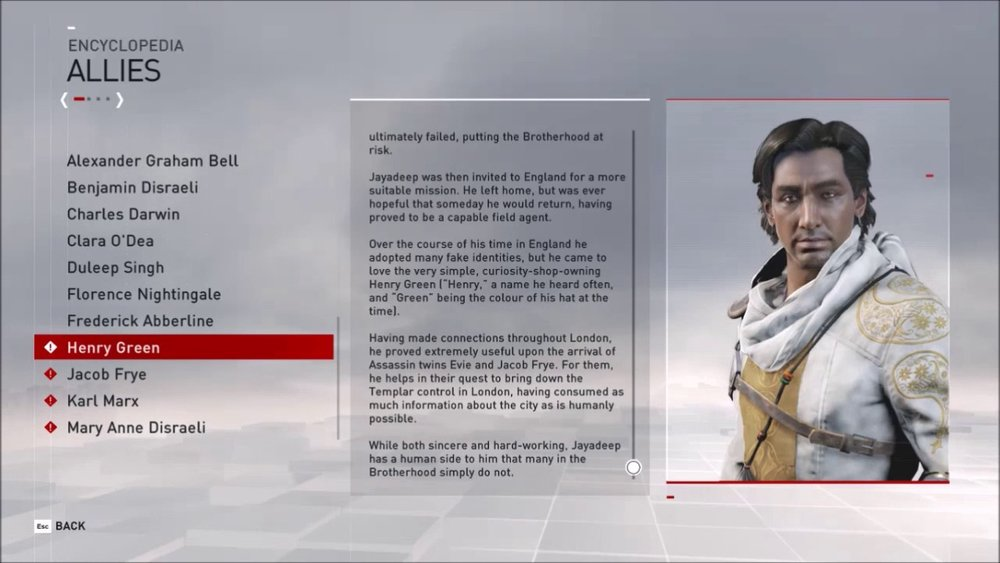 Assassin's Creed Syndicate: Screenshot of the database menu. While this type of menu does fit with the context of the game, this much text doesn't work great in a virtual environment.  Source .