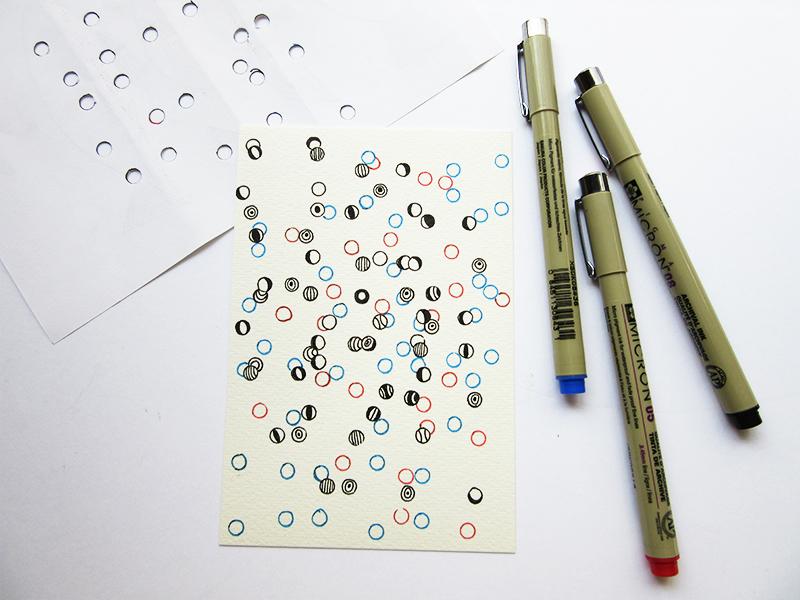 Estudo de estampa com gabarito de papel furado com furador de papel
