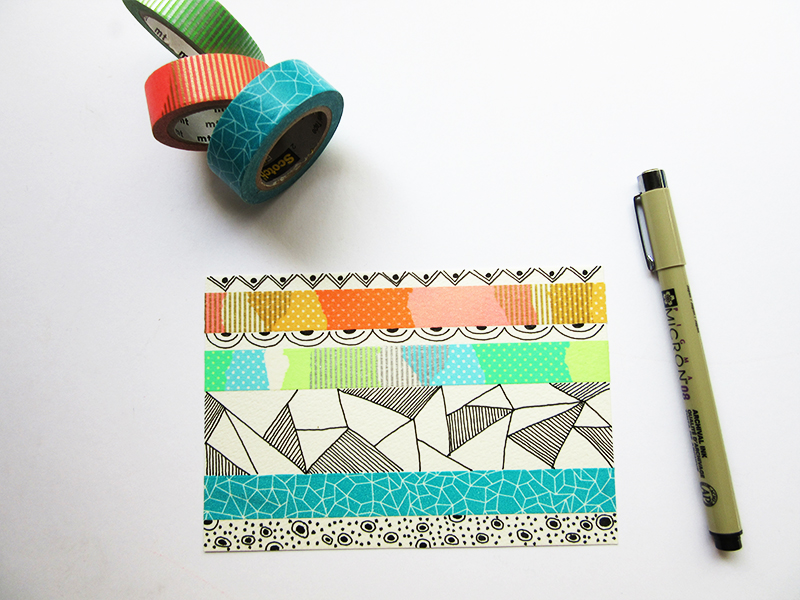 Estudo de estampa com washi tape