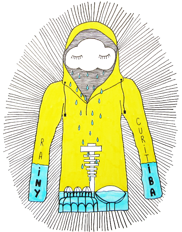 """""""Chove chuva, chove sem parar..."""" (Jorge Ben Jor)  Mais de um mês de chuva em Curitiba inspirou esta ilustração."""