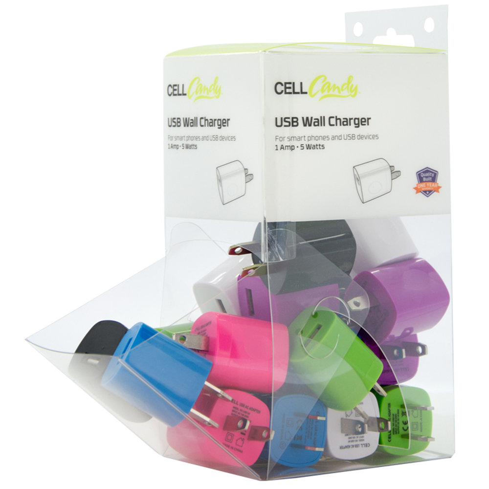 "20 Piece, 1 Amp (5 Watt) USB Wall Charger, 3"" Filled Gravity Bin"