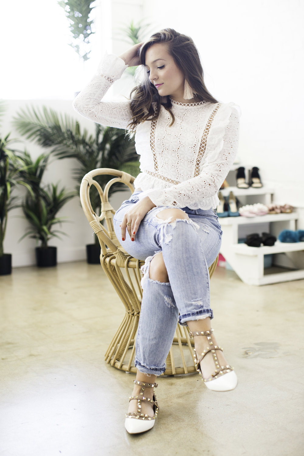 White Lace top + Ripped Jeans // sarahmecke.com