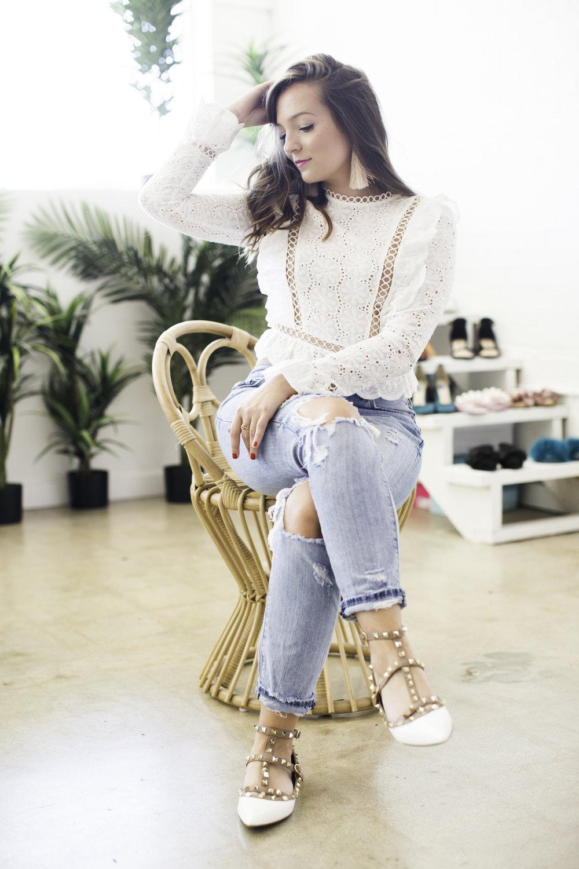 White Lace top + Ripped Jeans // Sarah La Vie