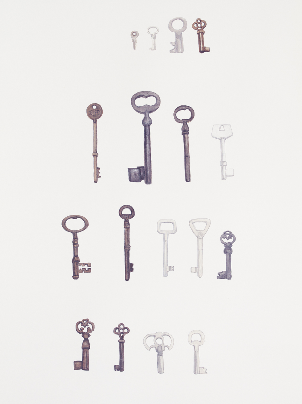 Seventeen keys to find my way home  . 2013 . watercolour on paper . 75 x 56 cm