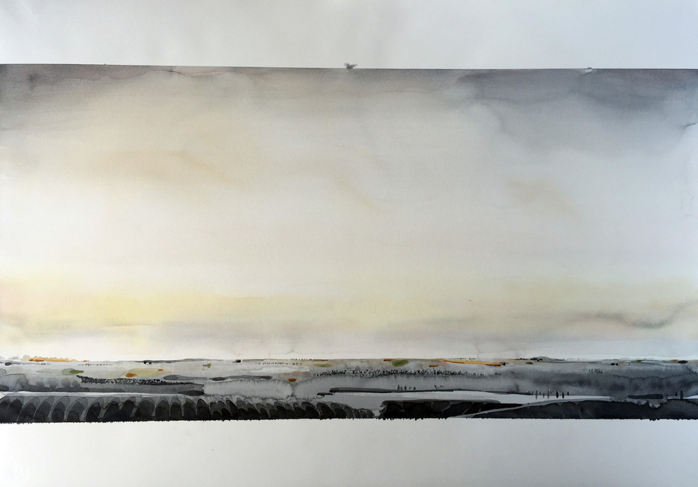 Looking West  2016 watercolour 81 x 111 cm framed