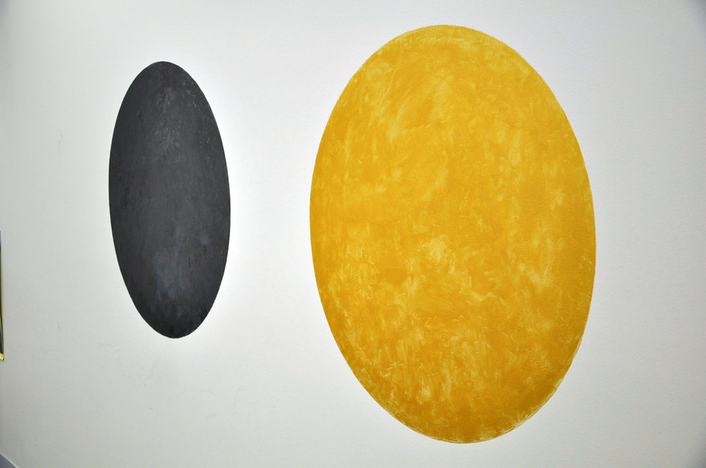 RHETT D'COSTA  A Golden Circle and Graphite Orb (limited vision)  . 2016 acrylic polymer 160 x 340cm