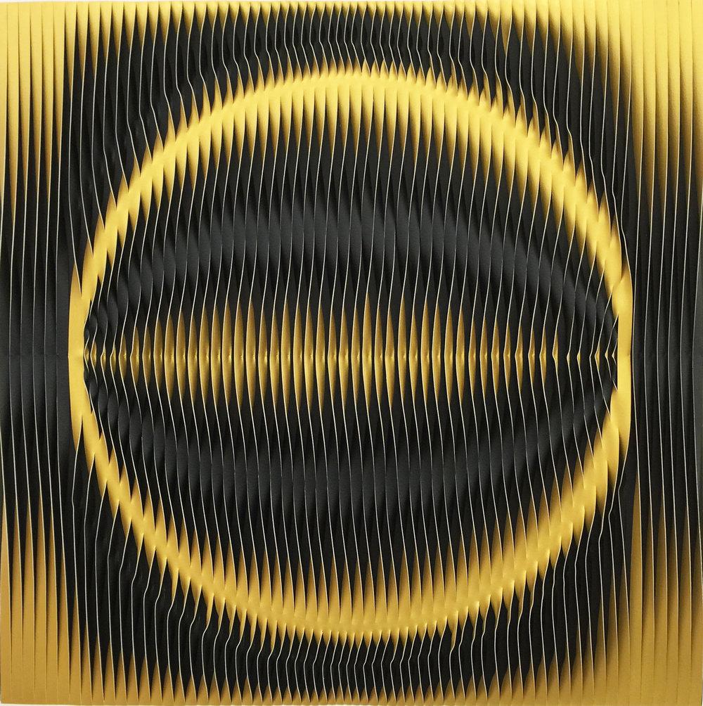 MARION BORGELT Liquid Light: 78 Degrees. 2016 canvas, acrylic, timber, pins 120.0 x 120.0 x 5.0 cm