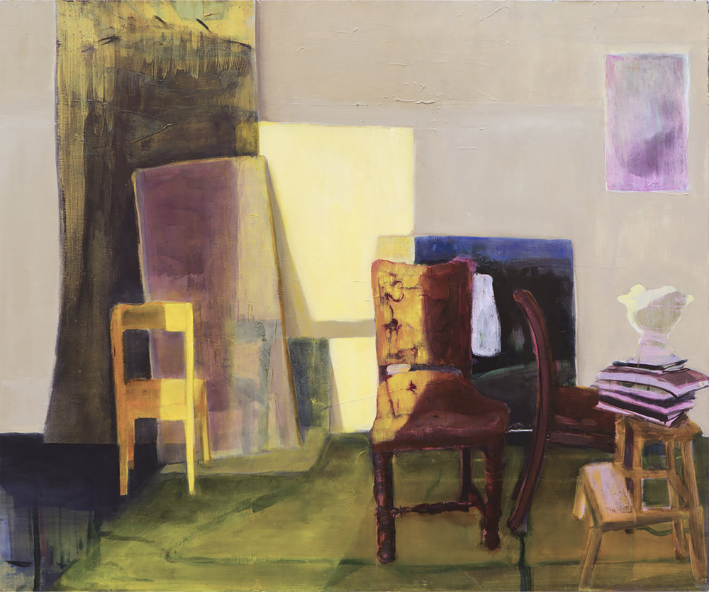 ANGELA CHAUVIN  Lux Seating, Kyneton , 2018 oil on Wood . 40 x 50 cm