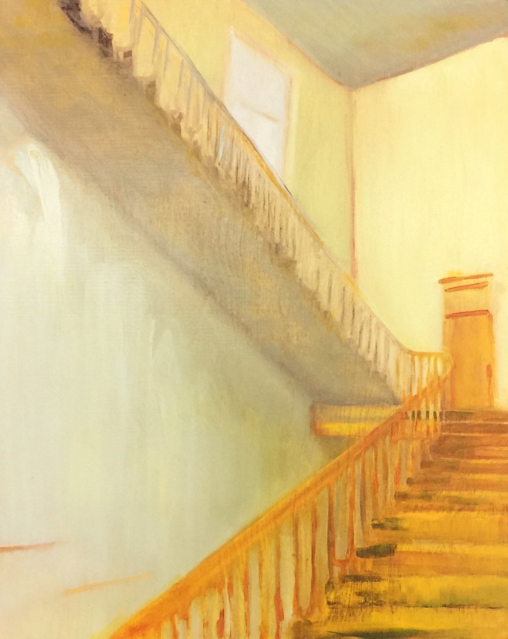 Yellow Stair,  2018 oil on wood 50 x 40cm