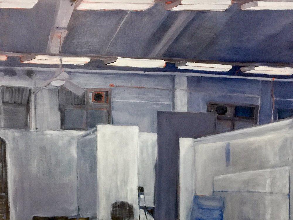 Royal Milk Tea Studio Night , 2018 oil on canvas 91 x 112 cm