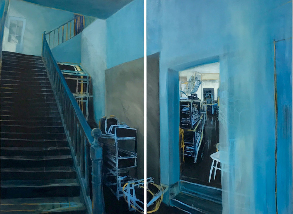 Blue Wooden Stairs (diptych) , 2018 oil on wood 120 x 160 cm  SOLD