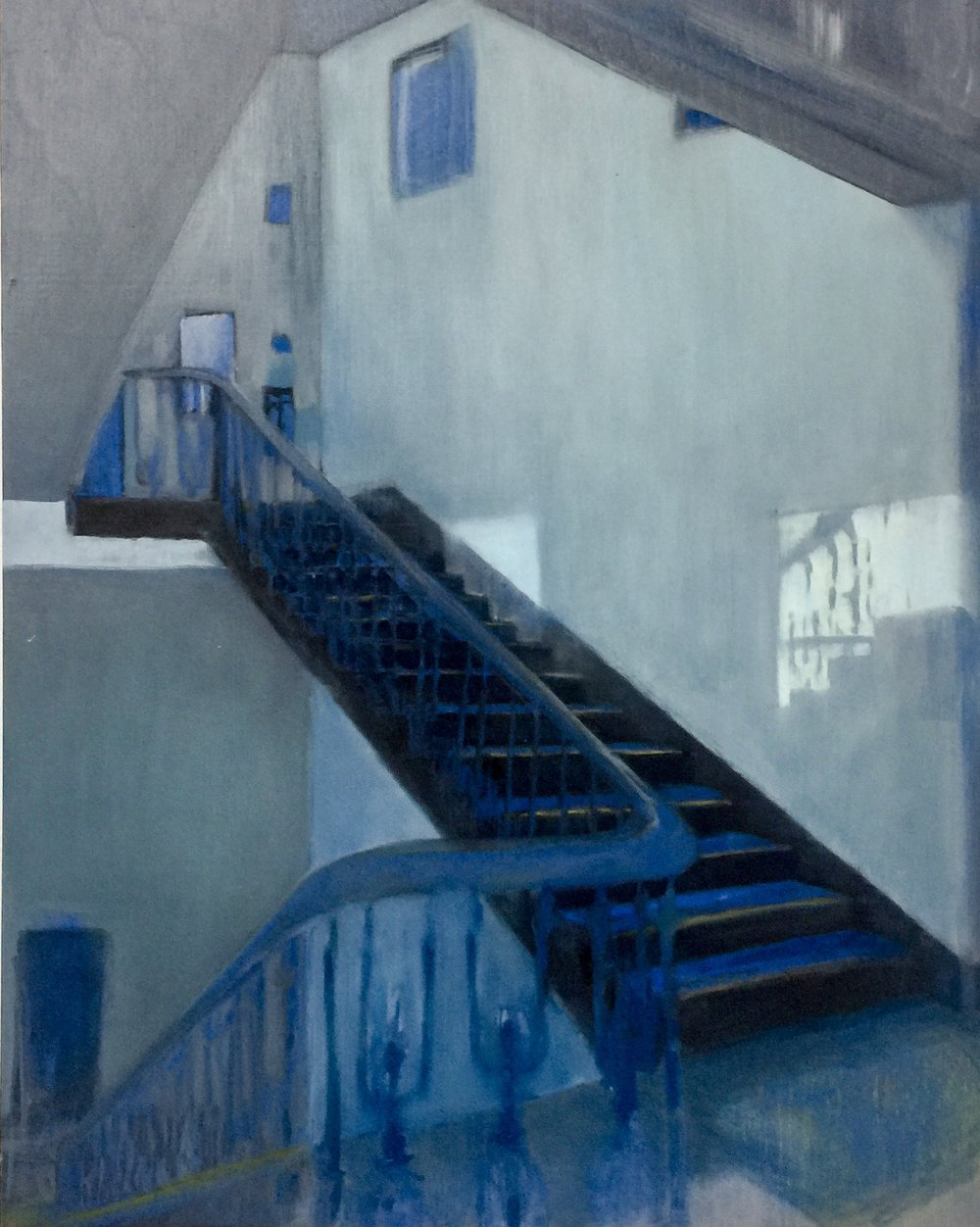 Manganese Blue Stairs , 2018 oil on wood 50 x 40 cm  SOLD