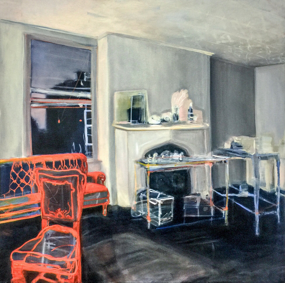 Sunset With Chairdog , 2018 oil on canvas 100 x 100 cm  SOLD